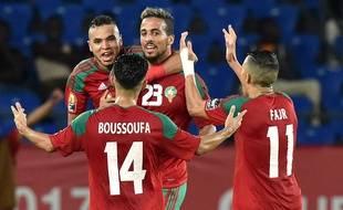 Rachid Alioui fête son but lors du match entre le Maroc et la Côte d'Ivoire le 24 janvier 2017.