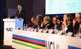 David Lappartient, le nouveau président de l'UCI, lors d'une intervention en marge des Mondiaux de Bergen, le 21 septembre 2017.