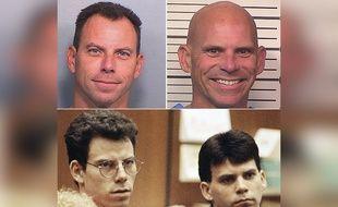 Les frères Erik et Lyle Menendez en 2016 (haut) et en 1992, lors de leur premier procès pour l'assassinat de leurs parents.