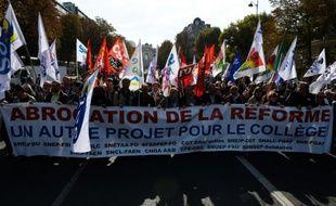 Manifestation contre la réforme du collège le 10 octobre 2015 à Paris