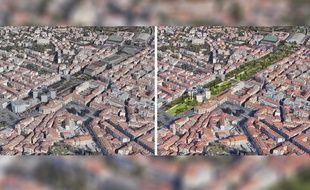 Vue avant-après où le maire de Nice a prévu de remplacer le Théâtre national de Nice et le palais Acropolis par un prolongement de la coulée verte
