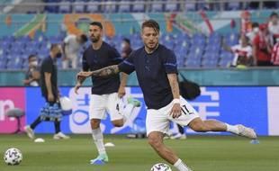 L'attaquant italien Ciro Immobile à l'échauffement avant le match d'ouverture contre la Turquie à Rome.