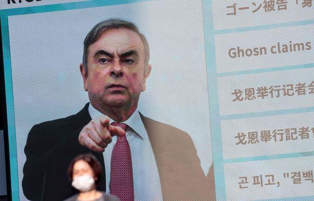 Une photo de Carlos Ghosn diffusée sur grand écran à Tokyo, le 9 janvier 2020.