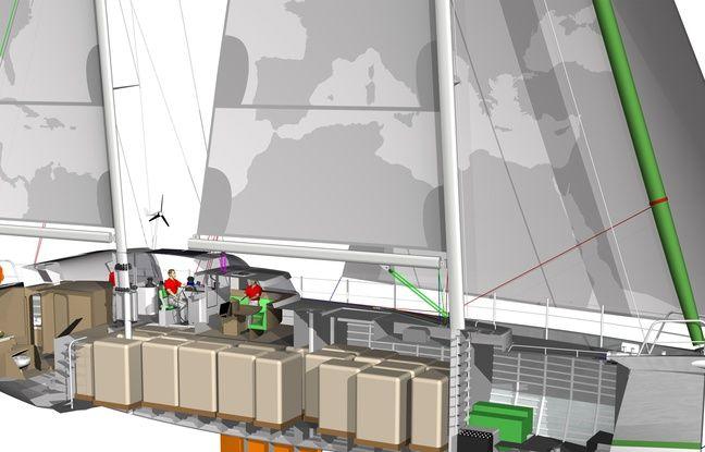 Vue des cales du cargo à voile Votaan 72 imaginé par la société Grain de Sail.