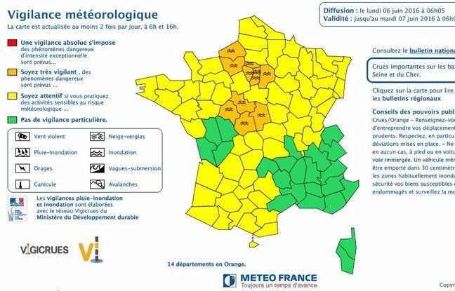 Bulletin de Météo-France le lundi 6 juin 2016
