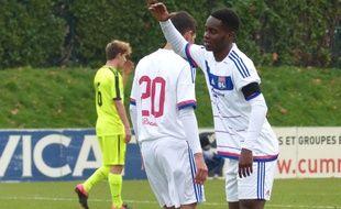 Jordy Gaspar, ici aux côtés d'Houssem Aouar lors d'une rencontre de Youth League face à La Gantoise la saison passée.