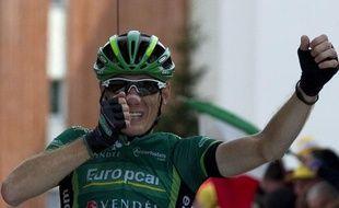 Le cycliste français Pierre Rolland, le 22 juillet 2011 lors de sa victoire d'étape à l'Alpe-d'Huez.