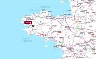 Carte de localisation de Lothey, dans le Finistère.