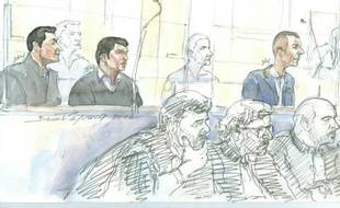 Croquis du tribunal de Paris, le 1er février 2016 où 3 Roumains comparaissent pour le meurtre d'un expert d'art