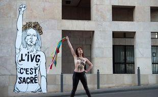 Une Femen a posé devant le collage.