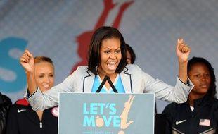 Michelle Obama milite contre l'obésité durant les Let's Move-London en 2012.