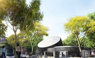 Le futur planétarium de l'université de Strasbourg. Vue depuis le boulevard de la Victoire.