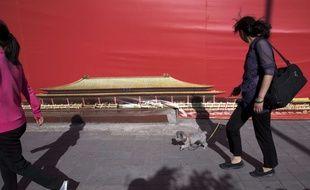 Une femme promène son chien à Pékin en avril 2017.