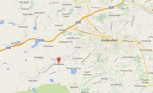 Situation géographique de Slaithwaite, en Angleterre.