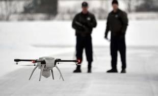 La police du Michigan fait une démonstration de son «Unmanned Aircraft System», le 15 janvier 2015.