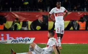 Le capitaine Issa Diop et les Toulousainsconsternés lors de la défaite du TFC à Montpellier, le 20 janvier 2018.