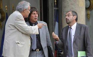 Bernard Thibault, secrétaire général de la CGT, François Cherèque de la CFDT et Bernard Van Craeynest le 14 septembre 2009 à l'Elysée.