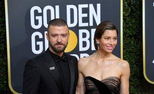 L'acteur et chanteur Justin Timberlake et sa femme, l'actrice Jessica Biel, aux Golden Globes 2018