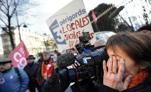 Manifestation des salariés de France 3 devant le Sénat le 7 janvier 2009.