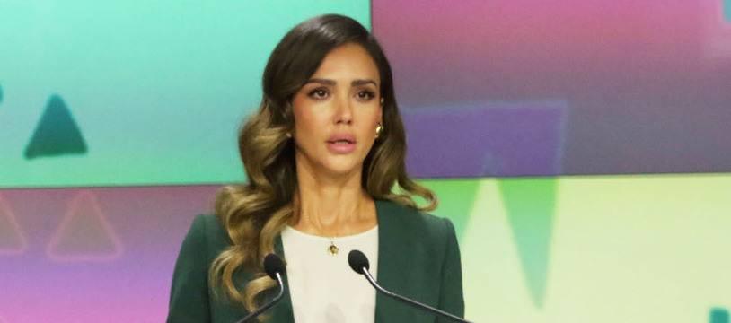 L'actrice Jessica Alba à l'ouverture du Nasdaq mercredi pour le lancement en bourse de sa société The Honest Company