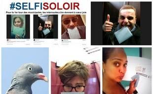 Capture d'écran des selfies dans l'isoloir publiés sur Twitter, le 23 mars 2014.