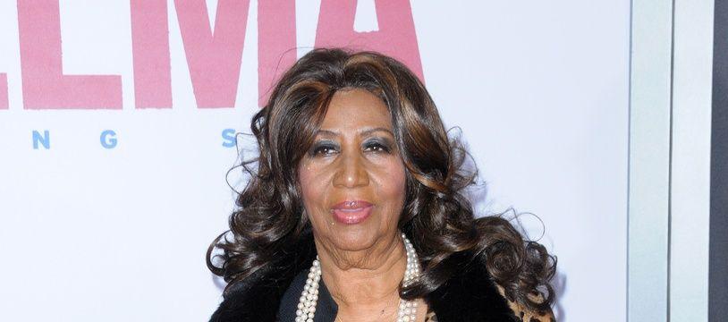 La chanteuse Aretha Franklin à la première de Selma à New York