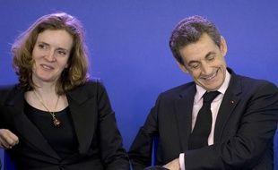 Nathalie Kosciusko-Morizet, vice-présidente de l'UMP, et Nicolas Sarkozy, son président, le 8 avril 2015 à un meeting au siège du parti