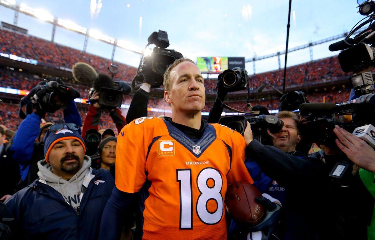 Peyton Manning après le match entre les Denver Broncos et les New England Patriots le 24 janvier 2016. – Justin Edmonds / GETTY IMAGES NORTH AMERICA / AFP