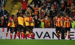 La joie des Lensois après avoir le score contre le PSG, le 10 septembre 2020.