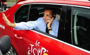 Nicolas Sarkozy sur le Tour de France, le 22 juillet 2010.