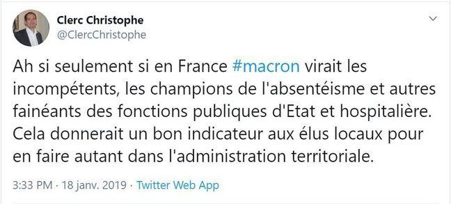 Capture d'écran de certains tweets de Christophe Clerc.