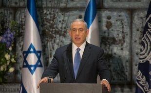 Benjamin Netanyahu fait un discours après avoir été officiellement chargé de former un nouveau gouvernement israélien, le 25 mars 2015 à Jérusalem