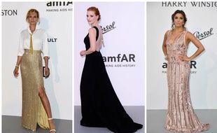 Uma Thurman en Armani, Jessica Chastain en Prada et Eva Longoria en Elie Saab à Cannes le 25 mai 2017.