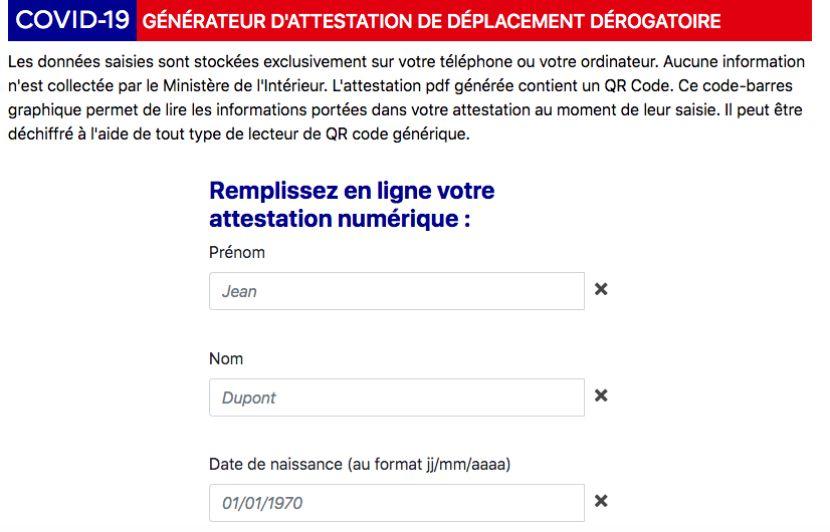 Coronavirus Attestation Numerique Pour Les Deplacements Derogatoires