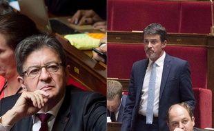 Jean-Luc Mélenchon et manuel valls à l'Assemblée nationale, où ils ne sont pas plus amis.