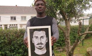 Cédric et son portrait de Zlatan.