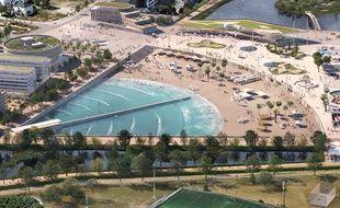 Vue aérienne du futur bassin de surf à vagues artificielles du parc de Sevran qui devrait ouvrir en 2023.