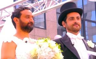 Cyril Hanouna et Camille Combal dans une parodie de mariage diffusée dans «Touche pas à mon poste» (D8), en septembre 2015.