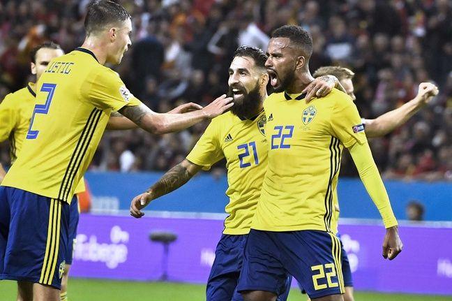 Avec la sélection suédoise contre la Turquie en Ligue des nations à Solna, le 10 septembre 2018.