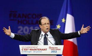 François Hollande lors du meeting du Bourget, le 22 janvier 2012.