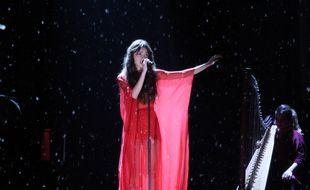 Olivia Rodrigo sur la scène des BRIT Awards le 11 mai 2021
