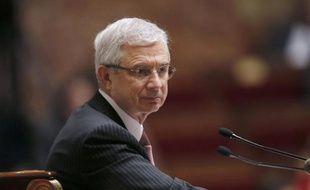 Le président de l'Assemblée nationale Claude Bartolone, à son pupitre, le 9 avril 2014
