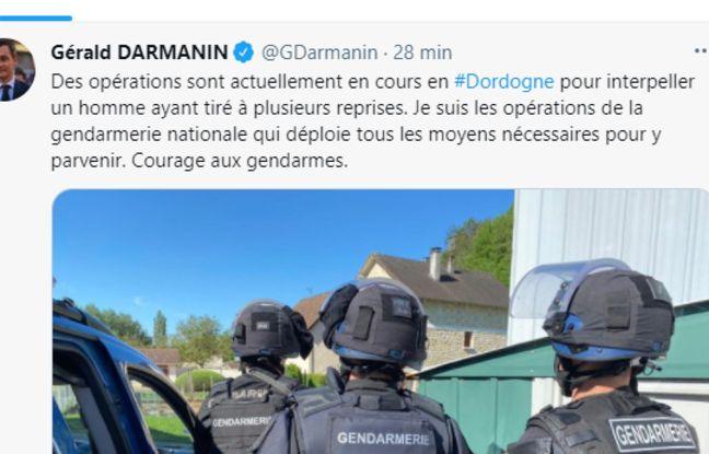 message Twitter du ministre de l'Intérieur Gérald Darmanin