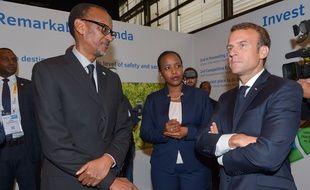 Emmanuel Macron et Paul Kagamé, le président du Rwanda, au salon Viva Technology, le 24 mai 2018 à Paris.