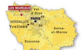 Carte de localisation des Mureaux, dans les Yvelines.