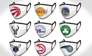 Aux Etats-Unis, la NBA commercialise des masques à l'effigie des franchises pour lever des fonds pour aider les banques alimentaires face à la crise du coronavirus.