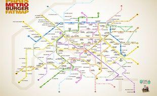 En s'inspirant de Thrillist, le site internet FraisFrais sort ce mercredi sa carte du métro des burgers de Paris.