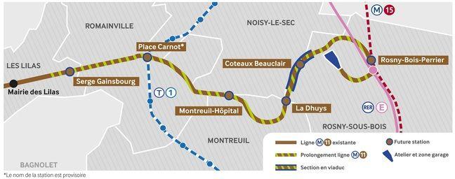 Le tracé du prolongement de la Ligne 11