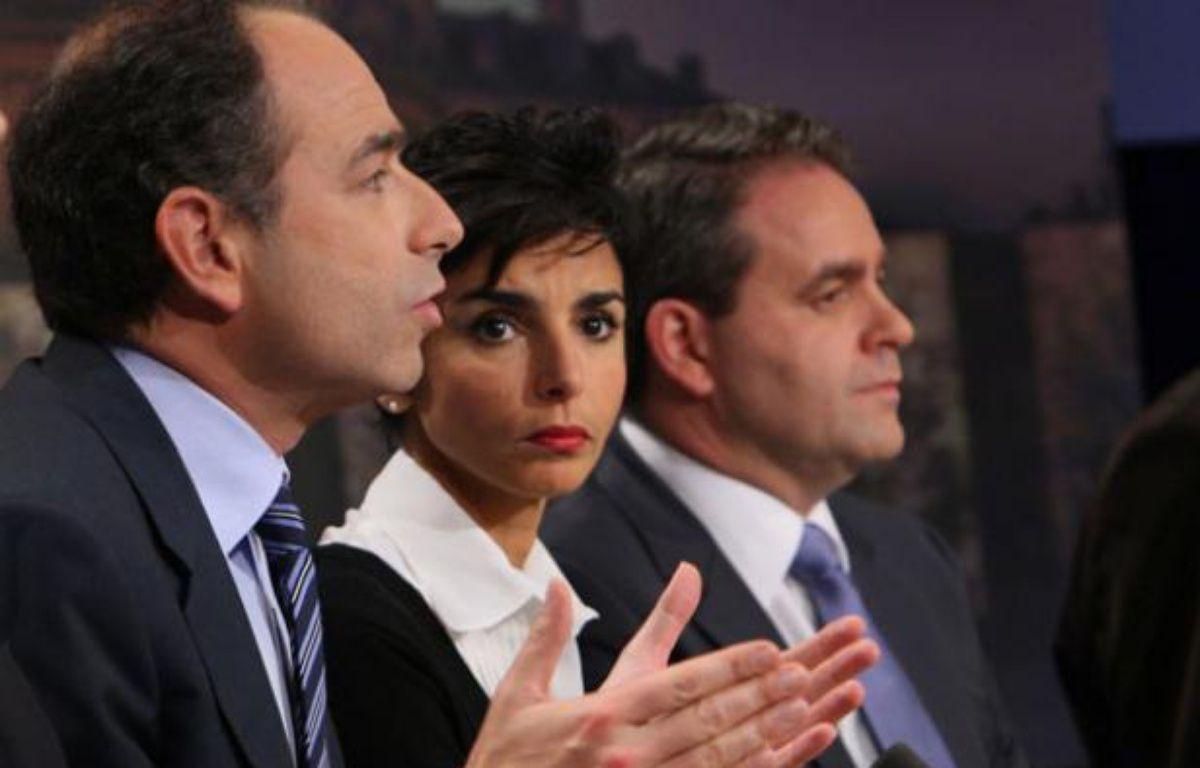 Jean-François Copé, Rachida Dati et Xavier Bertrand, le 16 mars 2008 sur un plateau de TF1. – F. GUILLOT / AFP