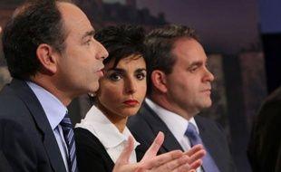 Jean-François Copé, Rachida Dati et Xavier Bertrand, le 16 mars 2008 sur un plateau de TF1.